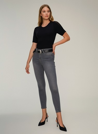 NGSTYLE Kol Detaylı Triko Bluz Siyah